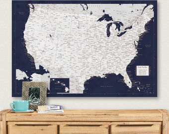 World map push pin etsy usa map poster us map push pin travel map united states map canvas travel gift couples gumiabroncs Choice Image