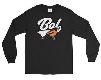 Baltimore Baseball, Long Sleeve T-Shirt, BAL Sports Script , Baseball shirt