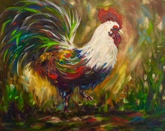 Rooster chicken bird  canvas print Giclee of original oil painting