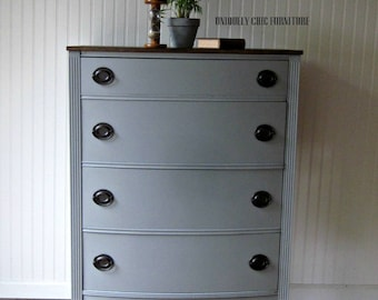 Driftwood Gray Hepplewhite Tall Dresser Chest~ SHIPPING isn't INCLUDED
