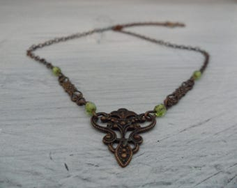Antique Fleur De Lis Choker Oxidized Copper Victorian Gothic Necklace 1800s Jewelry Delicate Brown and Green Old French Flor De Lis Necklace