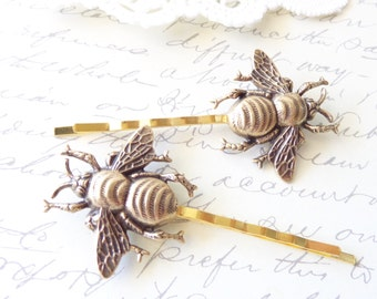 Golden Ox Brass Bumble Bee Hair Pins - Bumble Bee Bobby Pins - Bumblebee - Woodland - Nature Wedding Hair - Insect - Fly - Moth - Bee