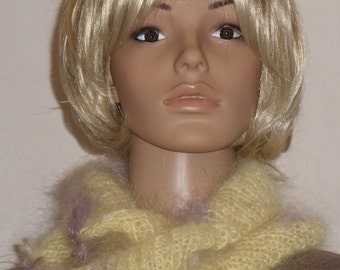 Knitted Möbiusschal in yellow with purple with a mohair wool yarn