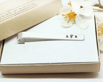 Tie Clip, Personalized Tie Clip- Hand Stamped Tie Bar Custom - Groom's gift - Father of the Bride- Men's Wedding Accessories- Groomsmen Gift