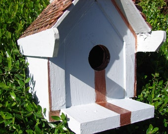 Penny Roof Birdhouse Minimalist Design Handmade Hand Painted Outdoor Copper Stripe Copper Accents