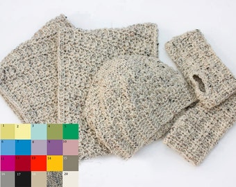 Custom Winter Hat, Cowl, Glove Set,  Slouchy Beanie Hat, Long Cowl Scarf, Infinity Scarf, Fingerless Gloves, Hand Crocheted