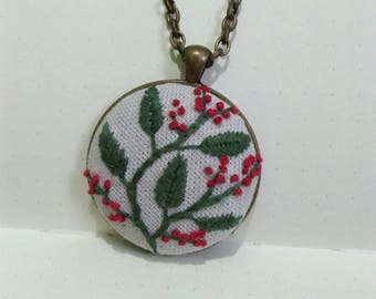 Floral Hand Embroidered Pendant, Antique bronze, Canvas Fabric, modern embroidery