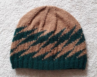 Green and brown beanie hat with flash pattern - team colours - sport