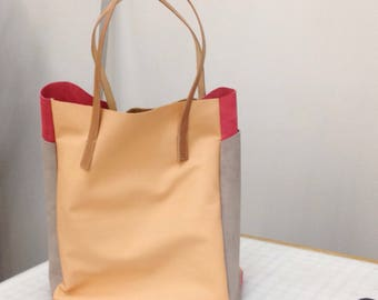 SAMPLE - Slouchy leather laptop tote - Cantaloupe, Watermelon, Fog - shoulder bag