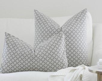 Charolette Pillow, Grey Pillow, pillow cover, farmhouse pillow, accent pillow, accent pillow cover, diamond pillow cover