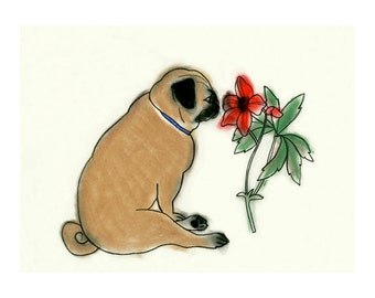 "Zen Pug - Pug Wall Art - Pug dog Art print - Pug Artwork 11.7"" X 8.3"" print - 4 for 3 SALE"