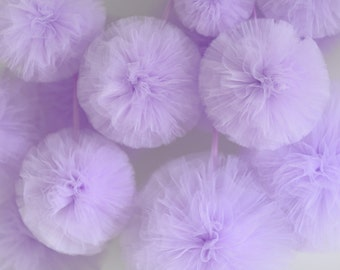 6  tulle pompoms set - custom color - fabric pompoms -wedding party decorations