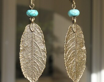 Boho Earrings Brass Turquoise Earrings Dangle Drop Leaf Earrings Bohemian Earrings Boho Jewelry Bohemian Jewelry Gift for her Gift for women