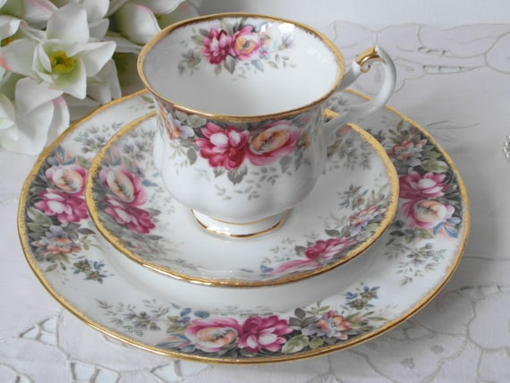 summer rose coffee cup trio english queen anne porcelain royal. Black Bedroom Furniture Sets. Home Design Ideas