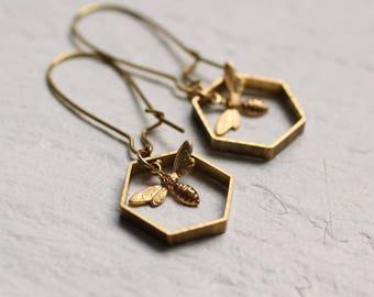 Bee Earrings, Hexagon Earrings, Bee Jewelry, Gift for Women, Insect Jewelry, Geometric Earrings, Gold Bee Earrings