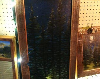 Night pine this painting vares in shipping so please dont hestaiate to message me and we can figure out the shipping :)