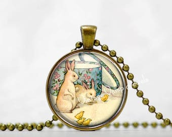 RABBIT Pendant Necklace Easter Bunny  and Chicks Jewelry Glass Bezel Easter Art Pendant Necklace, Vintage Easter Necklace