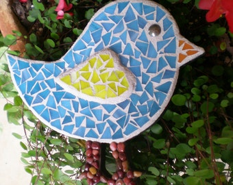 Stained Glass Mosaic Tweet Bird Wall Hanging