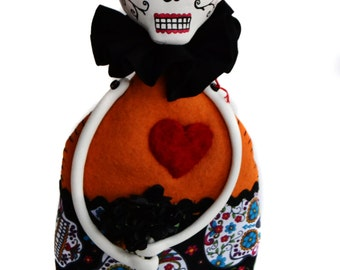 Day of the Dead - Day of the Dead Doll - Skelly Cloth Doll - Skelly Mixed Media