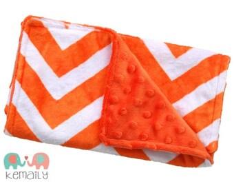 Bright Orange Chevron Double Minky Burp Cloth, Drool Bib, Chevron Mordern Burp Cloth, Drooling Bib, Baby Shower, Gift, New Mom Essentials