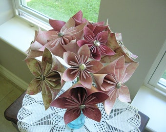 Origami Flower Bouquet - Paper Flowers Pinks - First Paper Anniversary, 1st Anniversary Gift - Mother's Day - Get Well Gift