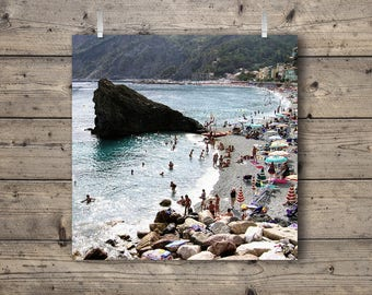 Beach at Monterosso al Mare / Cinque Terre, Liguria, Italy / Italian Riviera Travel Photography Print / Mediterranean Sea Coastal Wall Art