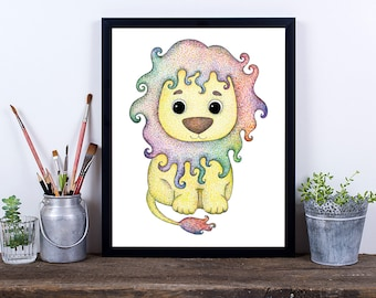 Lion Nursery Art, Digital Download, Art Print, Downloadable Print, Instant Download, Cute Lion Nursery Print, Printable Art, Pencil Drawing