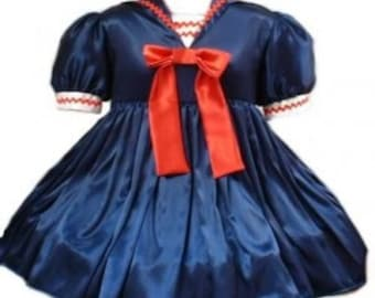 Cute Satin Sailor Sissy Dress Navy Blue Red and White Custom Size including Plus Size Middy Collar Bows Womens Adult Crossdresser