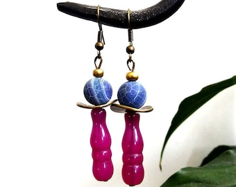 """Earrings """"pink and purple"""" ethnic chic Style"""