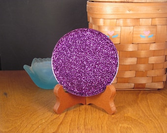Purple Glitter Handmade Resin Coaster