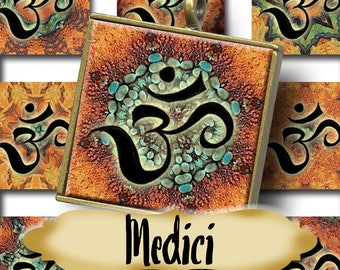 MEDICI OM•1x1 Square Images•Printable Digital Images•Cards•Gift Tags•Stickers•Magnets•Digital Collage Sheet
