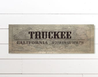 Truckee California, Typography, Typography Print, Town Name, Wall Art, Truckee Wall Art, GPS Coordinate Print, City Name Art, Wall Art Print