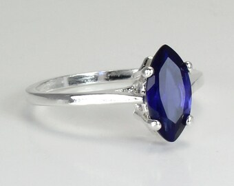 Sterling Silver Sapphire Ring / Blue Sapphire Silver Ring