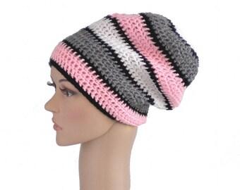 Slouchy crochet hat, pink gray white, big boho beanie, elegant chunky hat, dreadlock crown