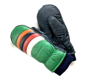 Vintage Men's Ski Mittens, Leather Mittens ,Ski Gloves,  Duck Down, Kelly Green, Red, NAvy, Orange Leather, Size Large