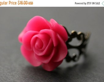 MOTHERS DAY SALE Hot Pink Rose Ring. Fuchsia Pink Flower Ring. Gold Ring. Silver Ring. Bronze Ring. Copper Ring. Adjustable Ring. Handmade J
