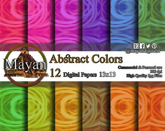 Digital print, digital download, 12 Digital abstract images and colors paper for decorations