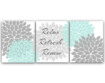Bathroom Wall Art PRINTS, Relax Refresh Renew CANVAS, Gray and Aqua Bathroom Decor, Modern Bathroom Art, Set of 3 Bath Art Prints - BATH26