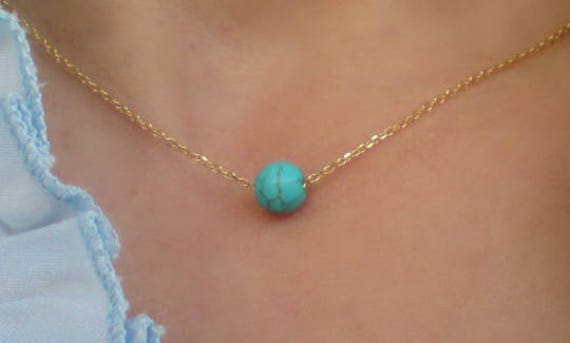 Dainty Turquoise Necklace -14k Gold Filled Necklace - Minimal Jewelry - Graduation Gift - Best Gifts for Women