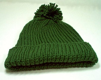 Vintage Rock Band Inspired Wool Hat Cap Toque Green for man or woman Super Soft Acrylic or 100% Wool 1970's