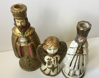 Vintage Paper Mache Christmas Angel with Green eyes