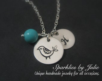 Mama Bird Necklace - Hand Stamped Mama Bird, Custom Initial Charm, Birthstone, Mother & Child, Grandmother