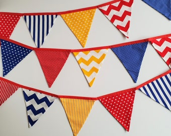 Circus Fabric Bunting Banner Flags, Circus Party, Bunting Flags, Red Yellow and Blue Stars Stripes Dots Fabric Garland 18 flags 3.3m/10.8ft
