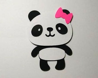 40 Panda with bow 2 inch die cuts