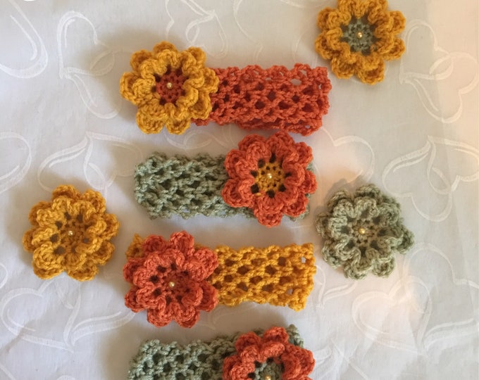 Fall Stretchy Crocheted Flower Headbands-Girls-READY TO SHIP-headwarmers-Womens hair accessories-