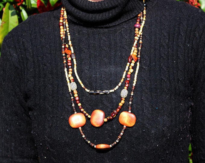 Wooden Brown, white, ivory, gift for her necklace multi-row Guyana natural wood beads, beads