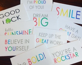 Lunchbox Notes // Encouragement Notes // 10 Motivational Cards // Instant Download