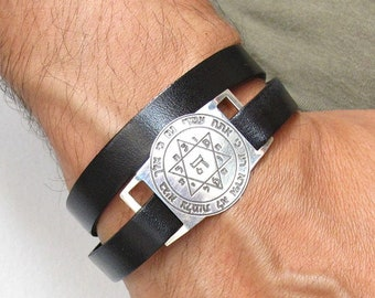 Kabbalah artisan bracelet sterling silver leather wrap bangle star of david blessing luck and protection