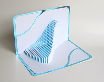 FATHERS DAY Gift Pop Up Home Decor 3D The WAVE Handmade Cut By Hand Origamic Architecture In White And Bright Shimmery Metallic Light Blue