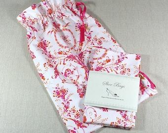 Shoe bags, Pink and White Flourish, Set of 2 bags, Lingerie, Shoe Storage, Organizer bag, Drawstring bags